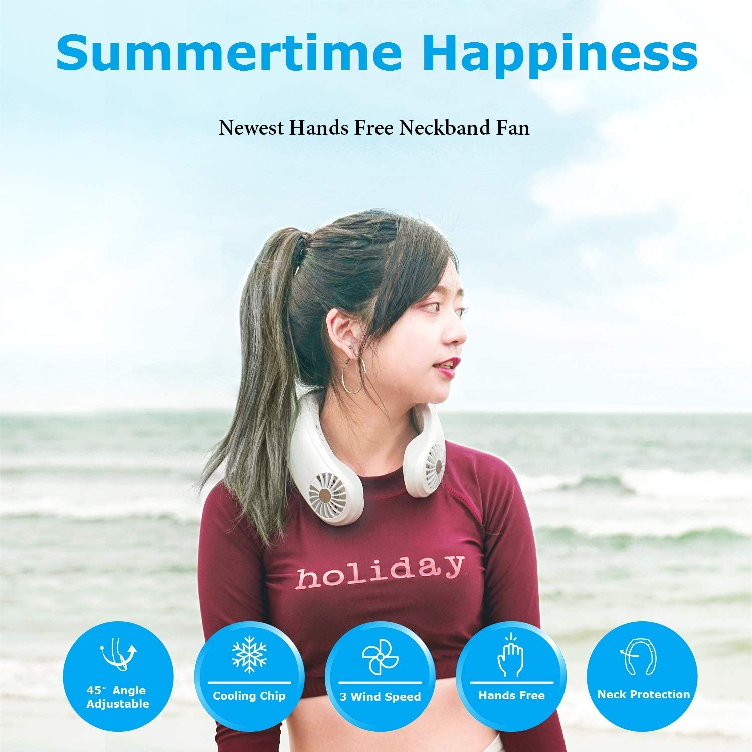 YOUDirect Neck Fan, 2020 Newest Hands Free Neckband Fan USB Rechargeable Air Conditioner Fan, Headphone Shaped Personal Cooling Fan with 3 Speeds for Home Office Outdoor Sports