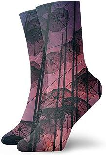 tyui7, Sombrillas colgantes negras Calcetines de compresión antideslizantes Art Cozy Athletic 30cm Crew Calcetines para hombres, mujeres, niños