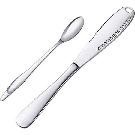 Spreader Knife, Butter Spreader Multiuse with Stainless Steel Serrated Edge Shredding Slots Easy to Hold for Bread Butter Cheese Jam (silver-A)