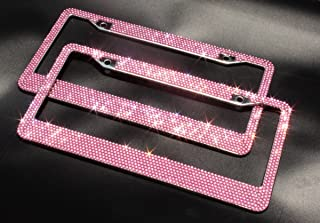 Follicomfy 2 PCS Bling Diamond Rhinestone License Plate Frame with Metal Chromes,Pink