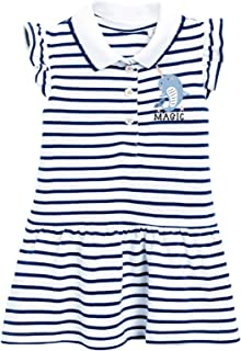 HILEELANG Girl Dress Summer Short Sleeve Cotton Casual Blue Stripe Polo School Uniform Shirt Dresses Size 6