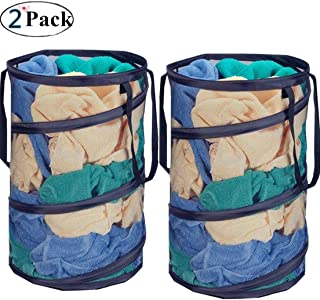 DurReus 2 Pack Foldable Pop-Up Laundry Hampers with Zipper Lid Large Collapsible Laundry Mesh Basket with Handles for Dirty Clothes,Baby Toys