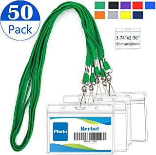 ID Badge Holder with Lanyards 50 Pack Waterproof ID Card Holders Neck Bulk Badge Lanyard ID Lanyards Name Tag Reusable Adults Kids Business School Church Conferences (Green)