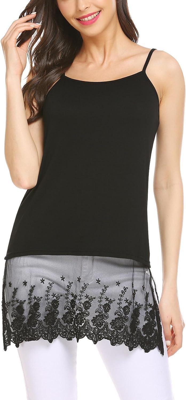 Grabsa Women's Lace Extender Camisole Tunic Tank Round Neck Slip Spaghetti Cami Tank Top