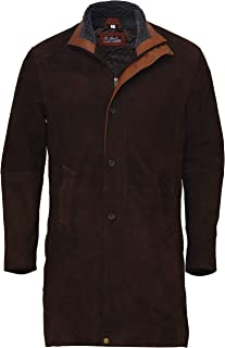 Natural Distressed Genuine Suede Leather Pea Coat for Men - Dark Brown Suede Jacket
