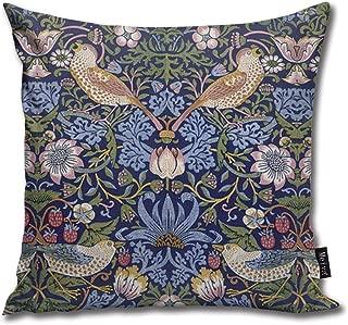 Dadi-Design William Morris Strawberry Thief Throw Pillowcase Home Sofa Cushion Cover Gift Decorative 18x18inches