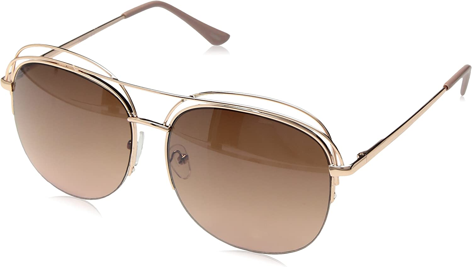 Nanette by Nanette Lepore Women's Nn223 Rgdrs Round Sunglasses gold pink, 60 mm
