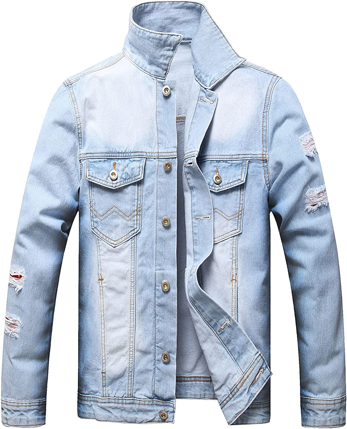 Denim Jackets for Men, Classic Slim Fit Distressed Fray Jean Jackets Casual Long Sleeve Button Down Denim Outerwear