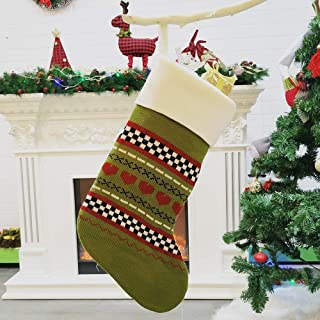 Christmas Stockings and Decorative Knitted Sock Knitting Christmas Stockings Large Gift 3PCS,Durability (Color : Green, Size : 44 * 29 * 20CM)
