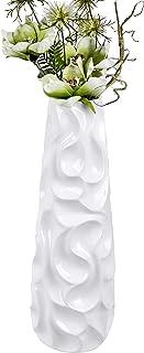 Lifestyle & More Moderno Jarrón Decorativo (Flores Jarrón Suelo Wave de cerámica blanco brillante Altura 57cm
