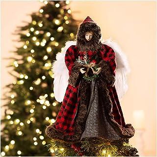"Best Glitzhome Handmade Plaid Angel Figurine Christmas Treetop Ornaments Xmas Decoration 16"" H - Red & Black Review"