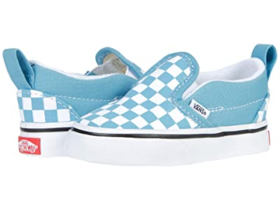 Vans Kids Slip-On V (Infant/Toddler) ((Checkerboard) Delphinium Blue/True White) Kids Shoes