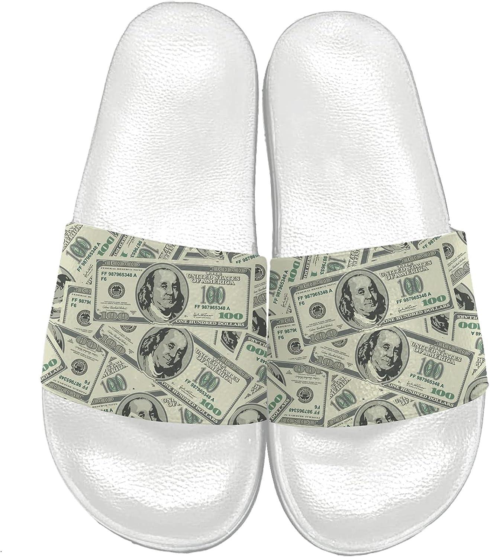 Sandals for Women Men 3D Print 100 Dollar Bill USA Money Slides Sandals Comfort Slippers Non-Slip Gift for Independence Day