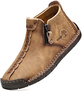 alcubieree Lightweight Mens Casual Shoes Genuine Leather Mid top Slip On Walking Cowhide Driving Boots
