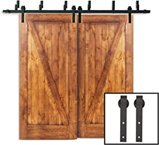 PENSON & CO. SDH-ND23-BK-PS 6.6FT Bypass Double Sliding Barn Door Hardware Rustic Black Wood Track Kit, 6.6 FT