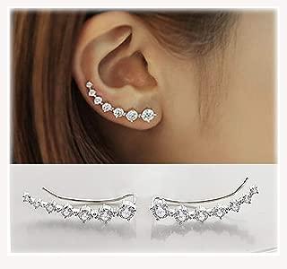 7 Crystals Ear Cuffs Hoop Climber S925 Sterling Silver Earrings Hypoallergenic Earring