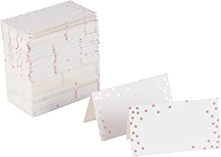 Rose Gold Table Place Cards - 100 Piece Polka Dot Tent Cards, Table Decorations and Party Supplies for Romantic Wedding, Banquets, Bridal Shower, Celebrations and Events, 2 x 3.5 Inches, White