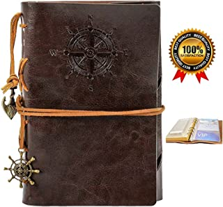 Leather Journal Diary Notebook, Refillable Travelers Vintage Pocket Journals to Write in, Note Spiral Notebook ,Blank Paper, Bonus Plastic Zipper Pocket and Card Holders, 7 Inches, Coffee Color