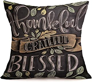 Ninasill Christmas Pillow Cover, ღ ღ Exclusive Happy Fall Thanksgiving Day Soft Linen Pillow Case Cushion Cover Home Decor