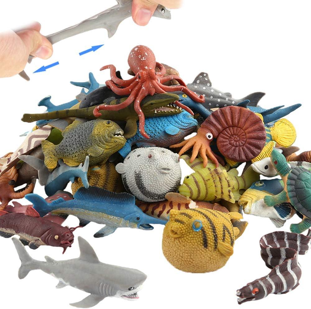 Ocean Sea New sales Animal Rare 18 Pack Rubber Food Bath Grade Material Set Toy