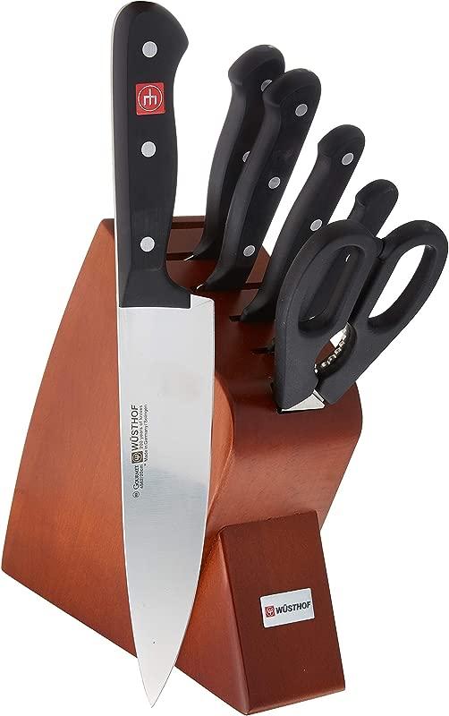 W STHOF Gourmet Seven Piece Mobile Cherry Block Set 7 Piece German Knife Set Precise Laser Cut High Carbon Stainless Steel Kitchen Knife Set With 6 Slot Cherry Wood Block Model 8940 2