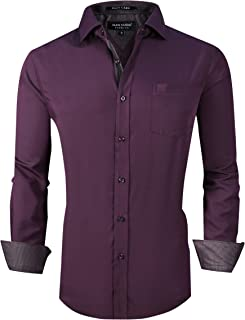 Alex Vando Mens Dress Shirts Wrinkle Free Regular Fit Long Sleeve Men Shirt