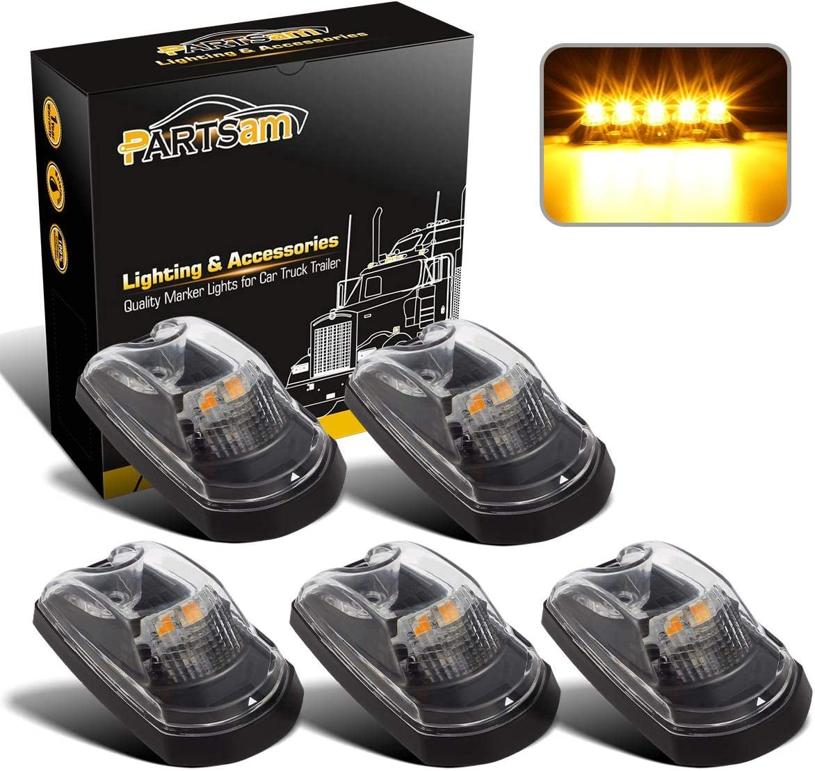 Partsam Clear Lens Cab Marker Top Lights Running Roof Amber depot Lamp Fixed price for sale