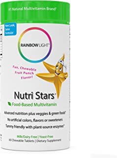 Rainbow Light - Nutristars Chewable Multivitamin - Kid's Food-based Vitamins, Minerals, Nutrients, and Superfood; Supports Nutrition, Digestion, Skin, Eye, and Immune Health in Children - 60 Tablets