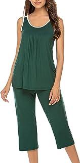 Ekouaer Womens Pajama Set Sleepwear Short Sleeves Top with Pants (S-XL)