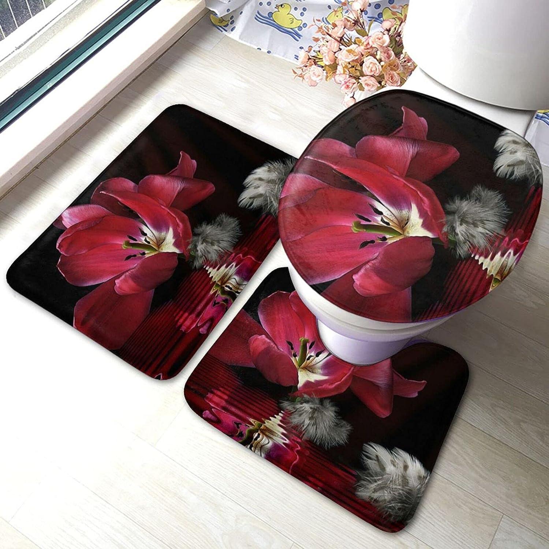 Red Tulip Print depot Bathroom Antiskid Pad Weekly update Mats Set Rug 3 Pi