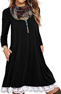 Women's Casual 3/4 Sleeve Lace Tunic Dress Summer T-Shirt Dress with Pockets