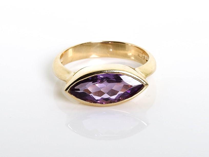 14K Gold Marquise Navette Amethyst Gemstone Ring
