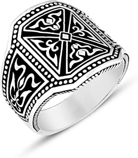 chimoda Mens Rings 925 Sterling Silver Men's Handmade Ring Unique Vintage Design Male Jewelry with Engraved Turkish Motifs