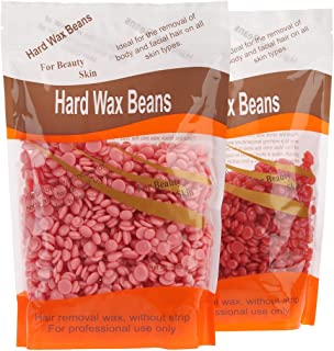 Bonjanvye Hard Wax Kit Hair Removal Wax Kit Hard Wax Beans Kit Prime 300g Rose and Strawberry