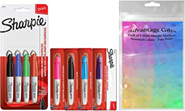 Sharpie Mini Permanent Markers, Fine Point, Assorted Colors, 8-Count and Advantage Gifts Plastic Resealable Pouch for Easy Storage