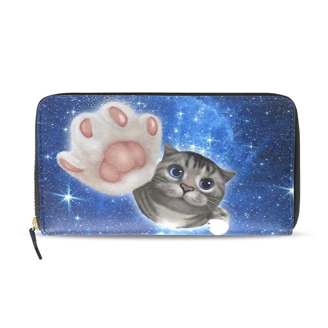 ふさわしい隣接する長いですマキク(MAKIKU) 長財布 レディース 大容量 革 レザー ラウンドファスナー おしゃれ 宇宙柄 かわいい 猫柄 変身 ブルー カード12枚収納 プレゼント対応