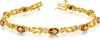 Jewels By Lux 14k Yellow Gold Natural Gemstone And Diamond Tennis Bracelet