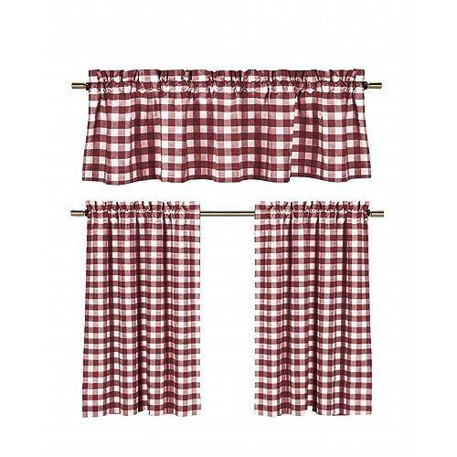 Burgundy Tier Curtains In Kitchen: Amazon.com