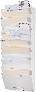 Wallniture Lisbon Wall Mounted Steel File Holder - Organizer Rack 10 Sectional Modular Design Letter Size 13 Inch - Multi-Purpose Organizer Display Magazines - Sort Files and Folders (White)