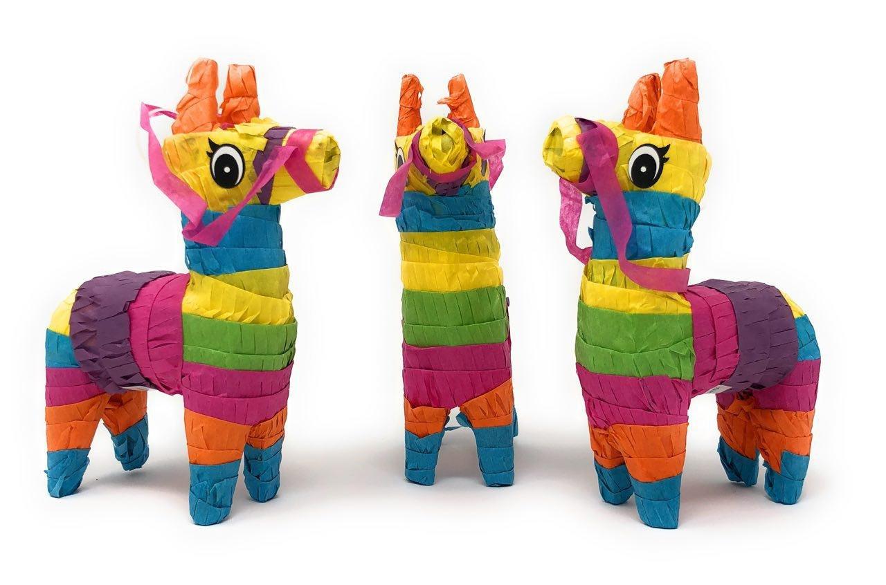 Pack of 3 Mini Donkey Pinatas, Cinco de Mayo Pinata Fiesta Decorations, Mexican Rainbow Donkeys, Great Party Favors…