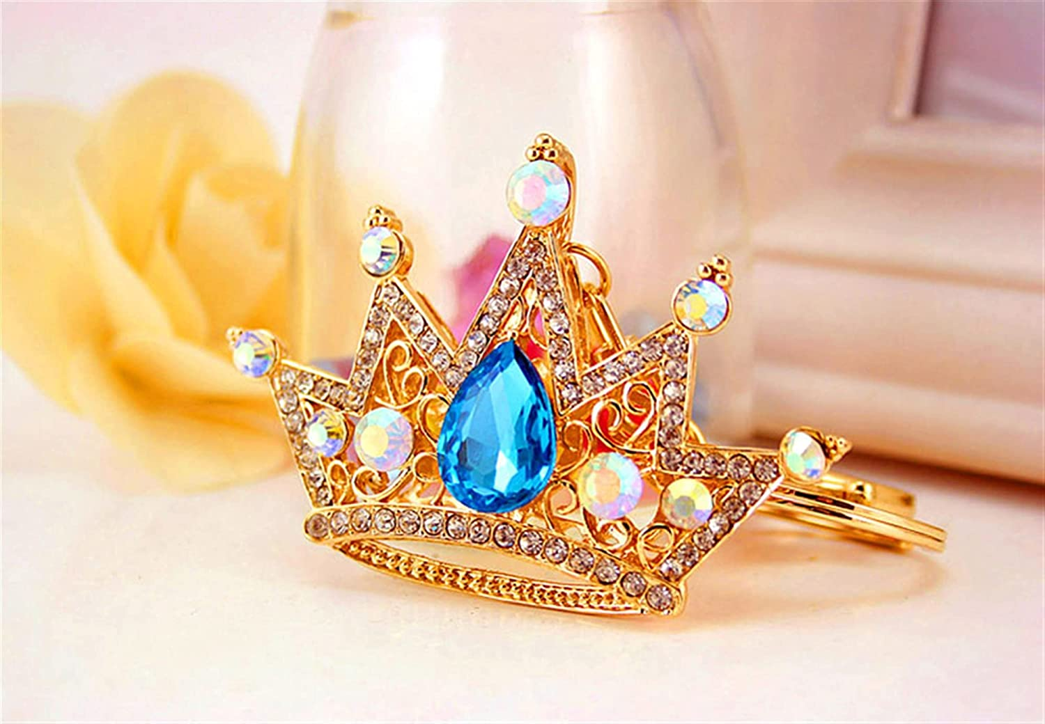Fashion Creative Animer and price revision Commemorative Gift Crystal Car Crown Key Gorgeous Inlaid