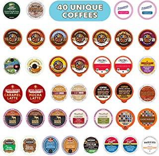 Flavored Coffee Variety Sampler Pack, Kcups and Single Serve Pods, Assorted Flavors with No Duplicates, 40 Count - for Keurig K Cup Machines - Great Coffee Gift