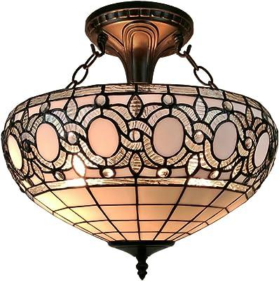 Amora Lighting AM230HL16 Tiffany-Style Semi-Flush Mount Ceiling Fixture, 16inch diameter White