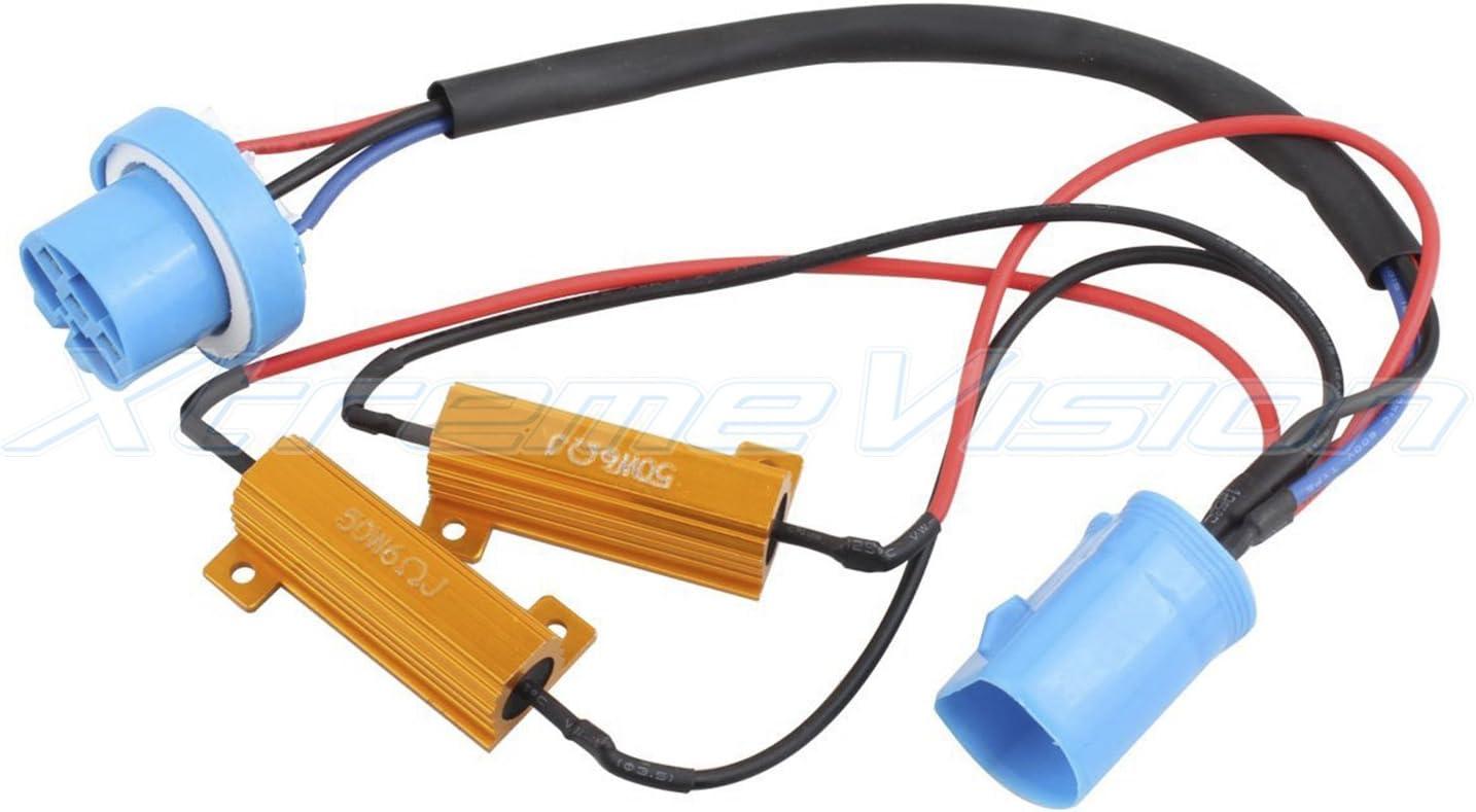1 Pair Xtremevision LED Anti Flicker Resistor Decoder Plug and Play Error Free 9008 H13