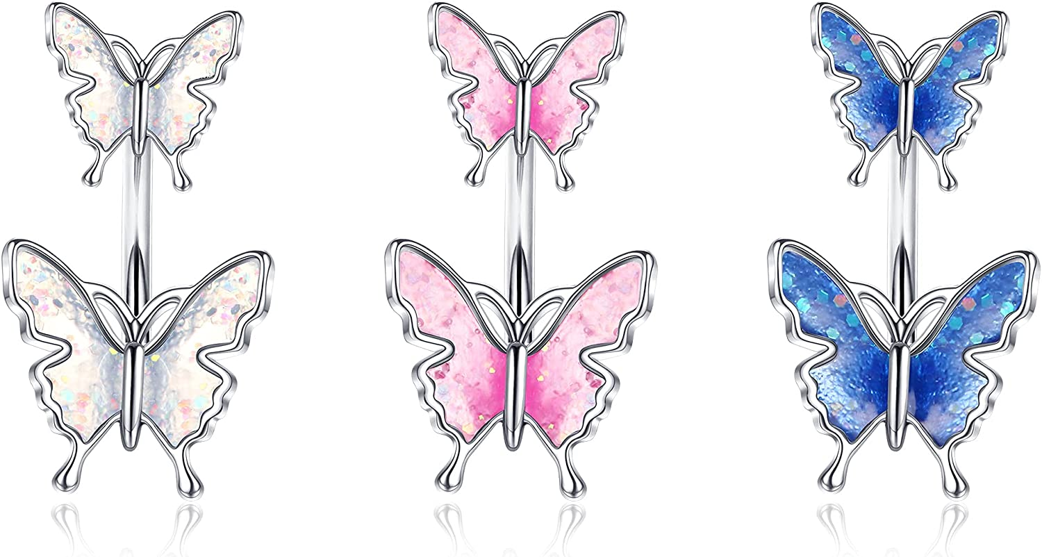XCOIN 14G Belly Button Rings 316L Surgical Steel Navel Rings Snake Belly Rings Butterfly Navel Rings CZ Crystal Belly Piercing Body Jewelry