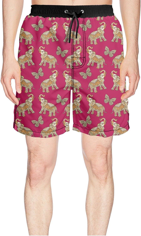 daee688c68b Juliuse Marthar Men's Ornate Tribal Indian Elephant Butterfly Swim Swim Swim  Trunks Quick Dry Shorts Board Shorts 62edaa