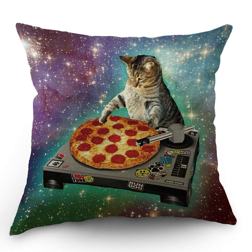 Amazon Com Hl Hlppc Pizza Cat Throw Pillow Case Food Funny Creative Hipster Dj Cat Galaxy Pizza Cat Cotton Linen Cushion Cover 18 X 18 Inches Standard Square Decorative Pillow Cover For Sofa