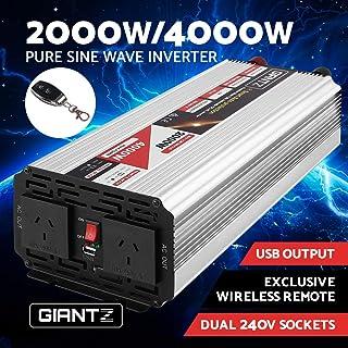 GIANTZ 2000W/4000W Pure Sine Wave Power Inverter 12V-240V Remote Camping Boat