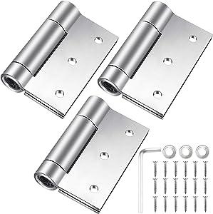 Self Closing Door Hinges 3 Pack, 3 Inch x 3.4 Inch, Stainless Steel Spring Hinges Adjustable Square Door Hinges 3'' x 3.4'' (Silver)