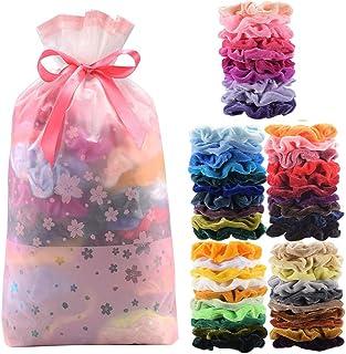 comprar comparacion Cozywind 50pcs Gomas de Pelo de Terciopelo Scrunchies, Banda Multicolores Elásticas para Pelo, para Mujeres, Niñas